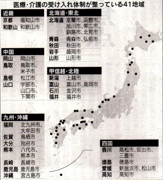 医療・介護の受け入れ態勢が整っている地方都市41ヶ所