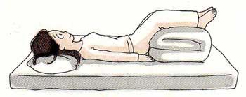 むくみ改善のために横になって下肢を拳上する