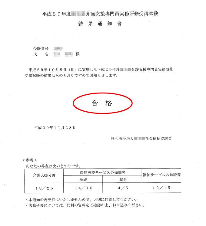ケアマネ試験の合格通知